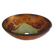 Novatto Hand Painted Glass Vessel Sink - Off White/Yellow/Burnt Orange