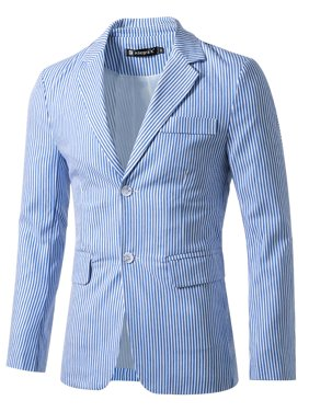 Azzuro Men's Vertical Stripes Notched Lapel Long Sleeves Casual Blazer Blue White (Size S / 34)