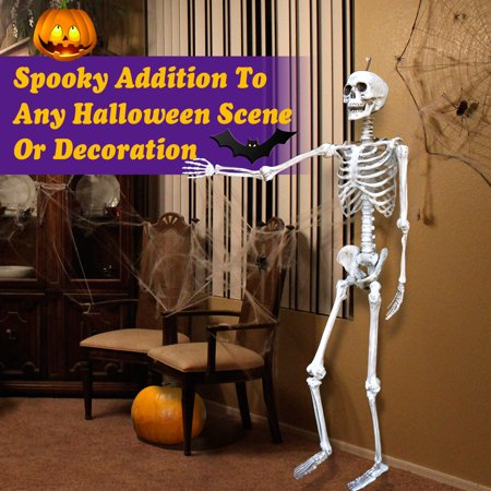 Sunrise Indoor/Outdoor Poseable 5.6' Crazy Skeleton Skull Pose-N-Stay Life Size Halloween Decoration (White)