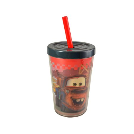 Novelty Character Drinkware Collectibles Zak Designs Disney Pixar Cars 13oz Red Insulated Tumbler Cup with Straw