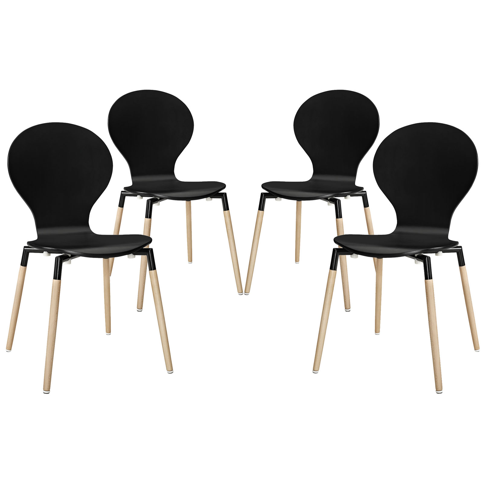Modern Contemporary Kitchen Wood Dining Chair Set of Four Black