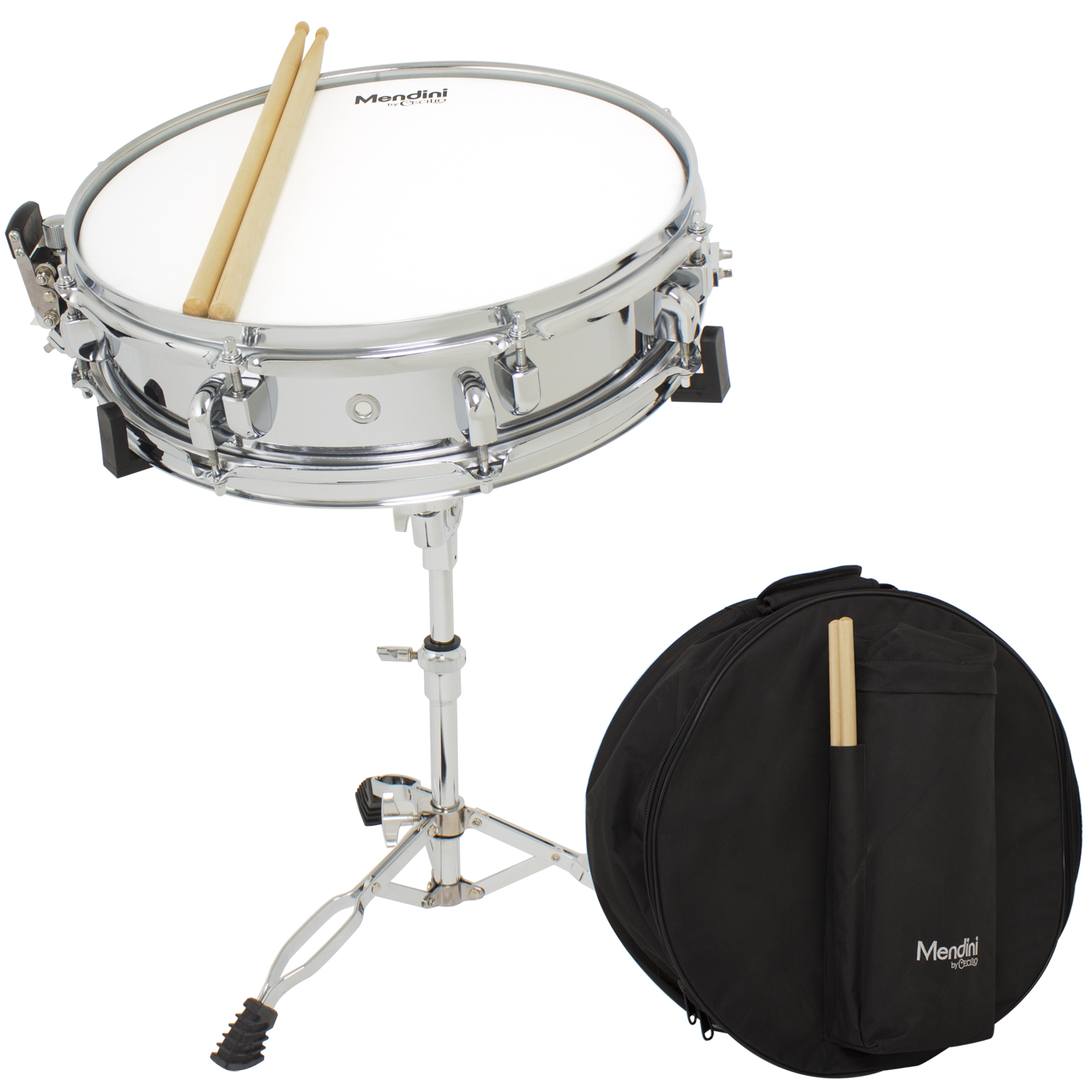 """Mendini by Cecilio Student 14"""" Snare Drum Set with Soft Case, Drum Sticks and Stand"""