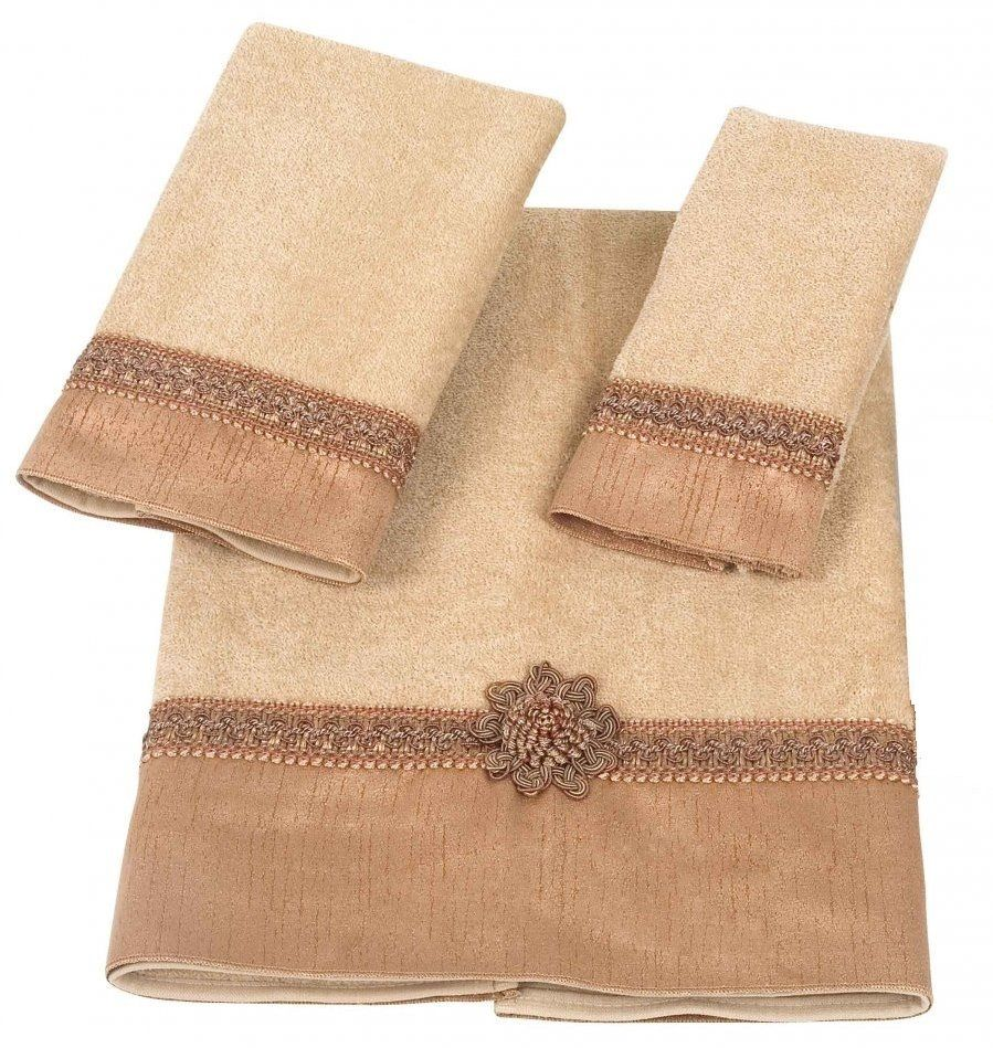 Avanti Linens Braided Medallion 3 Piece Bath Towel, Hand Towel and Fingertip Towel Set Gold