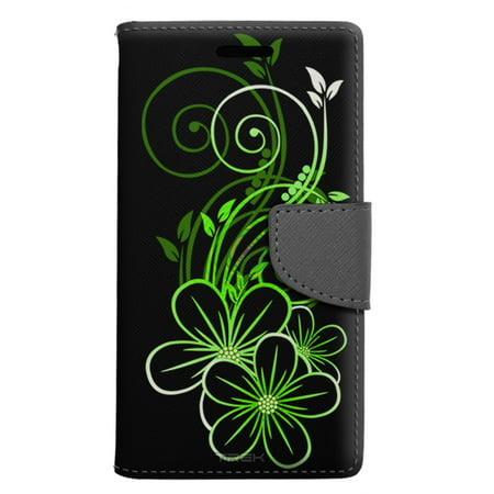 Apple iPhone 8 Wallet Case - Sketch of a Flower Green on Black Case