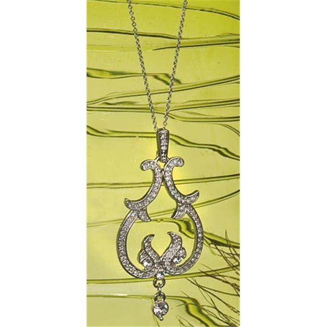 Ivy Lane Design 56-2233 Jewelry- Chandelier- Scroll With Rhinestones- Necklace- Silver - image 1 de 1