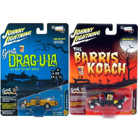Hot Rod Hobby - Munsters Double Feature Koach Car George Barris Hobby Exclusive Model 2017 & Silver Screens Munsters Barris Drag-u-la Hot Rod Creepy Set Limited Edition 2-Pack Johnny Lightning
