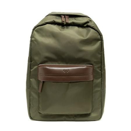 Prospect Park Men's Backpack Olive Green Bag Nylon Brown Genuine Leather Trim