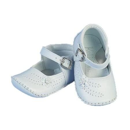Angels Garment Baby Girls White Flower Buckle Christening Shoes 0-3