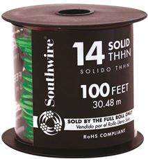 Southwire Simpull Thhn, 14 Gauge Thhn Solid Wire, Green, 100 Ft. Per Roll