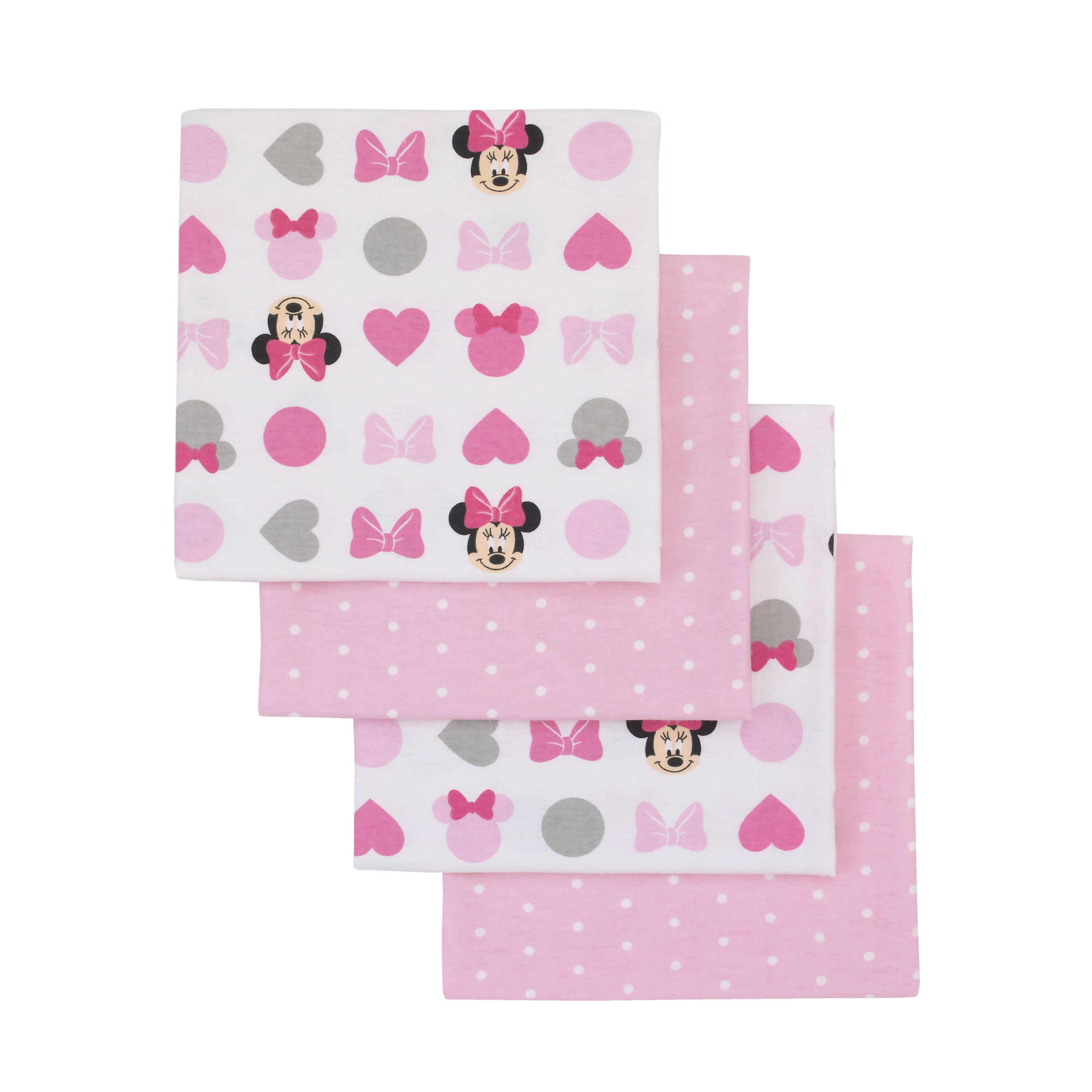 Carters 4 Pack Receiving Blankets Grey Stars and Polka Dots