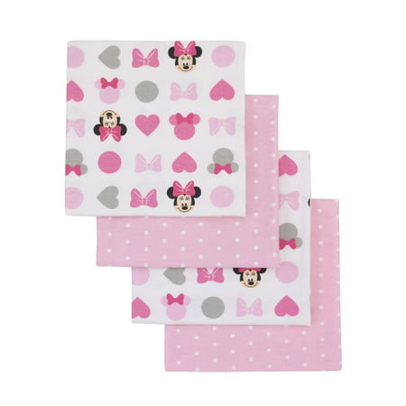 Disney Minnie Mouse Pink, White 4 Pack Flannel Receiving -