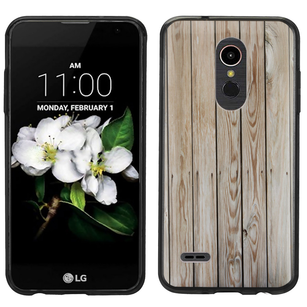 Slim-Fit Case for LG K30 / Premier Pro LTE, OneToughShield ® Scratch-Resistant TPU Protective Phone Case (Black Bezel) - Wood Print
