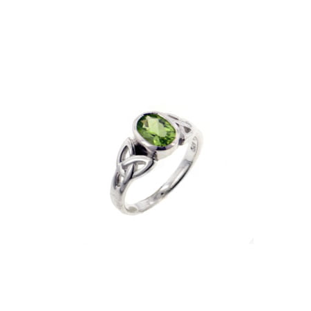 Sterling Silver Celtic Knot and Green Genuine Peridot Ring