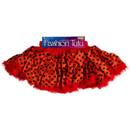 Girls Ladybug Princess Halloween Costume Tutu Skirt, Red Black, One-Size