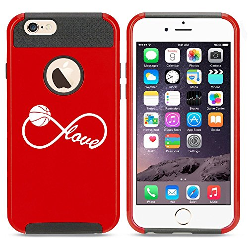 Apple iPhone 5 5s Shockproof Impact Hard Case Cover Infinite Infinity Love for Basketball (Red),MIP
