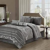 Chezmoi Collection Bellagio 7-Piece Jacquard Floral Stripe Motif Comforter Set