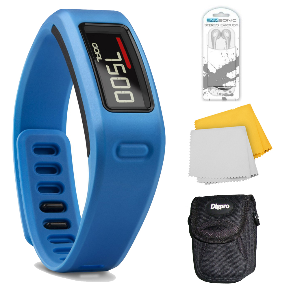Garmin Vivofit Bluetooth Fitness Band Plus Accessory Bundle (Blue). Bundle Includes Xtreme Audio Earbuds with Microphone, Deluxe Case, and Micro Fiber Cloth