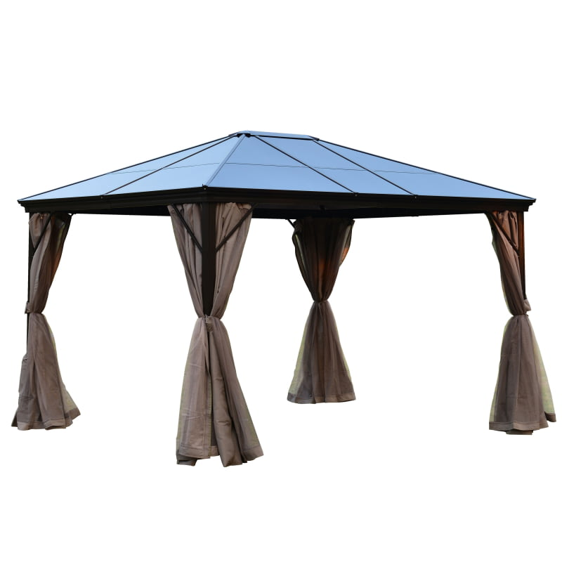 Aleko Aluminum Hardtop Gazebo with Removable Mesh Walls 10 x 12 Feet Brown by ALEKO