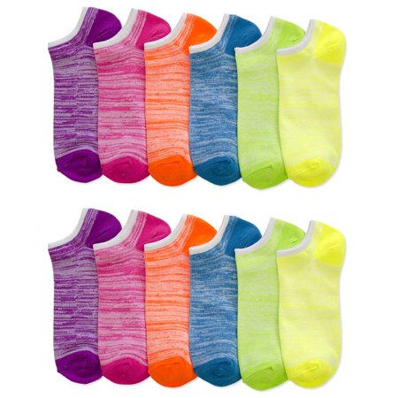 Lot Of 12 Women's Ladies No Show Neon Ankle Socks Multi Color Fashion Size 9-11 (Neon Socks No Show)