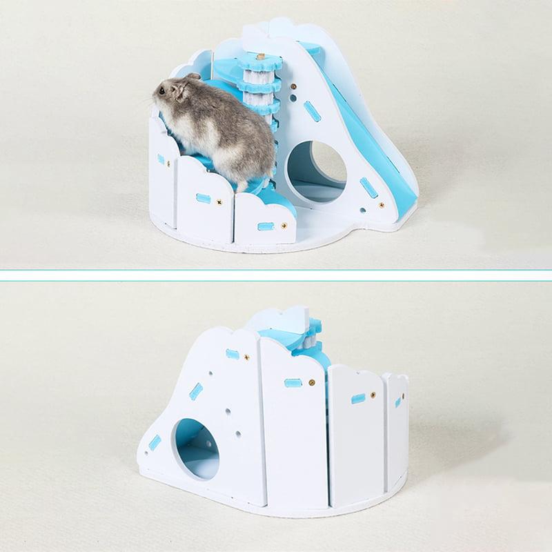 Pet Toy Colorful House Wooden Nest Bear Cub Round Slide Balcony Hamster Slide Hamste Toy blue