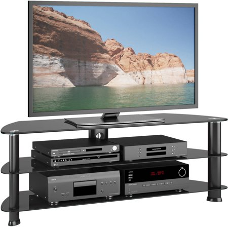 CorLiving Laguna Satin Black Corner TV Stand for TVs up to 60