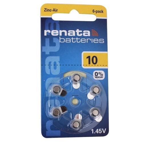 Renata ZA10 Mercury Free Hearing Aid Batteries