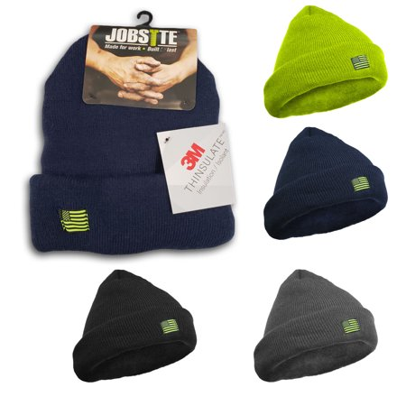 Jobsite Men's Ultra Thick Solid Cuffed Beanie with 3M Thinsulate Insulation (Black) 1200 Gram Thinsulate Ultra Insulation