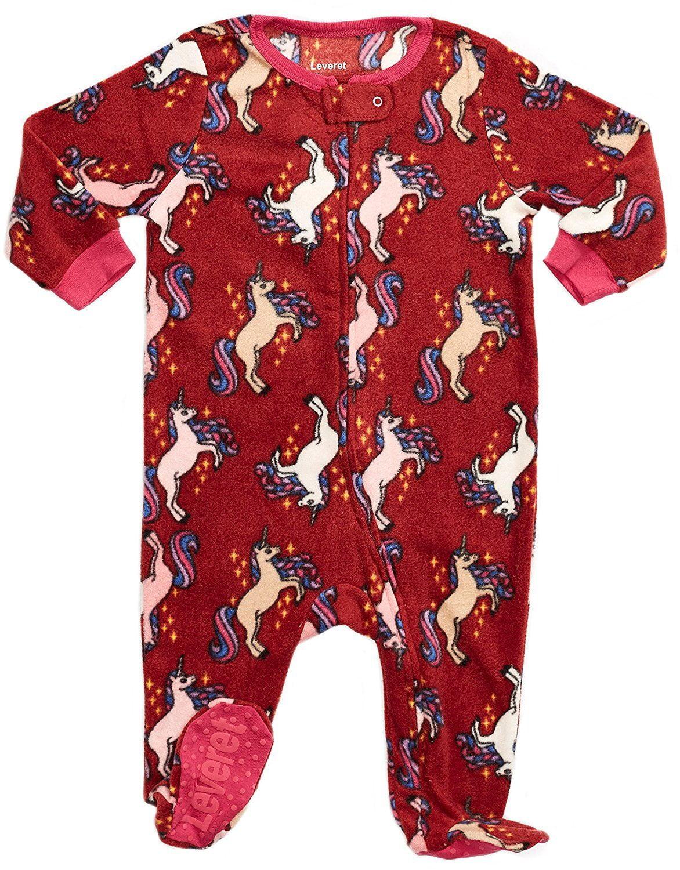 Leveret Fleece Footed Pajama Sleeper Unicorn 5 Years