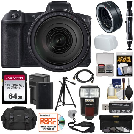 Canon EOS R Full Frame Mirrorless Digital Camera + 24-105mm f/4 L IS Lens + Mount Adapter + 64GB Card + Battery + Filters + Case + Strap + Tripod + Flash
