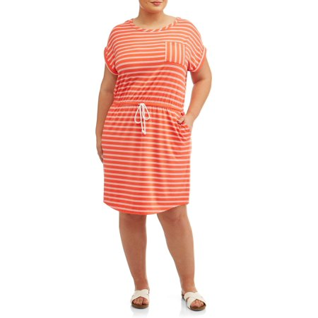 Women's Plus Size Short Sleeve Tie Front Knit Dress for $<!---->