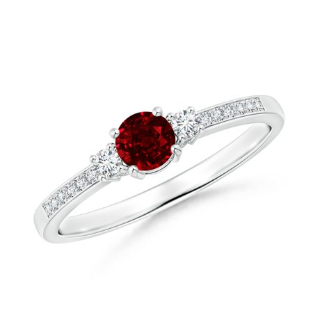 July Birthstone Ring - Classic Three Stone Ruby and Diamond Ring in Platinum (4mm Ruby) - SR0155R-PT-AAAA-4-13