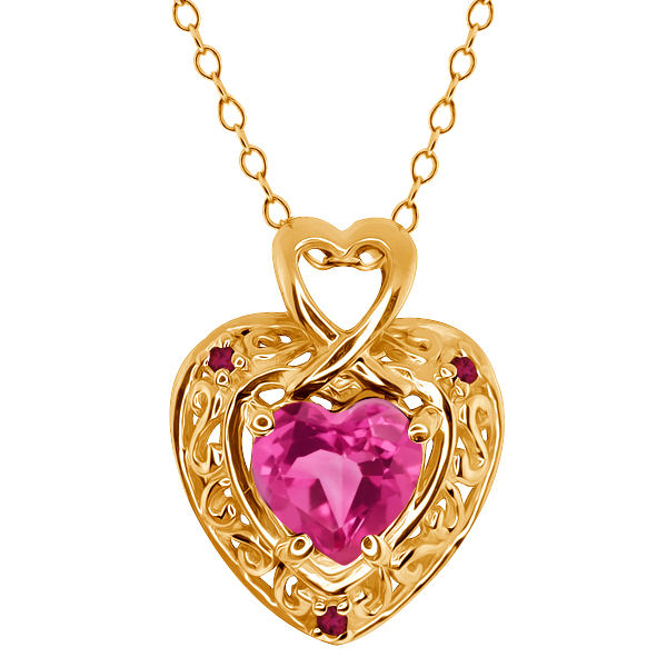 1.63 Ct Heart Shape Pink Mystic Topaz and Rhodolite Garnet 14k Yellow Gold Pendant by