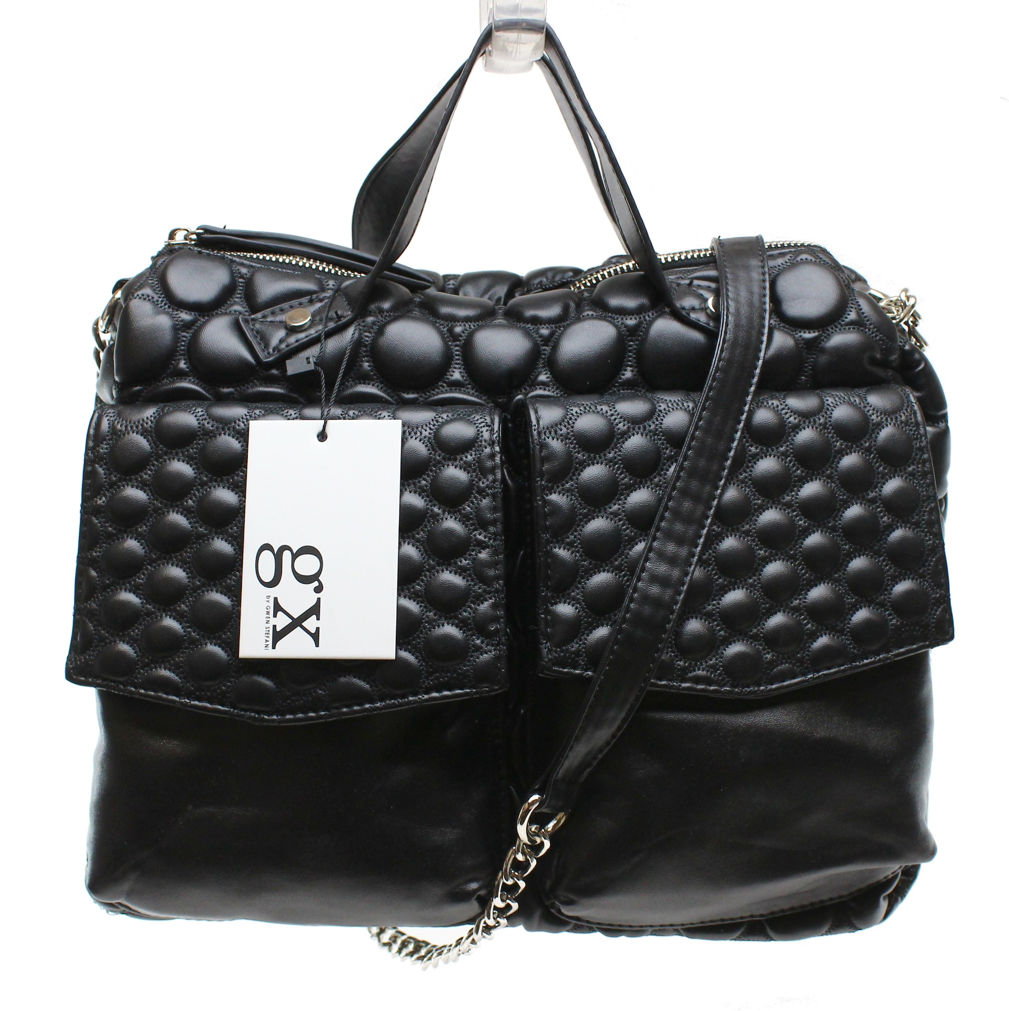 NEW Black Quilted ILA Satchel Chain Zip Purse