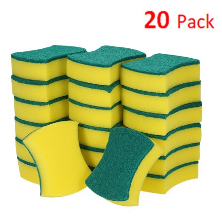 Esonmus 20pcs Multi-purpose Double-faced Sponge Scouring Pads Dish Washing Scrub Sponge Stains Removing Cleaning Scrubber Brush for Kitchen Garage (Cooktop Scrub Pads)