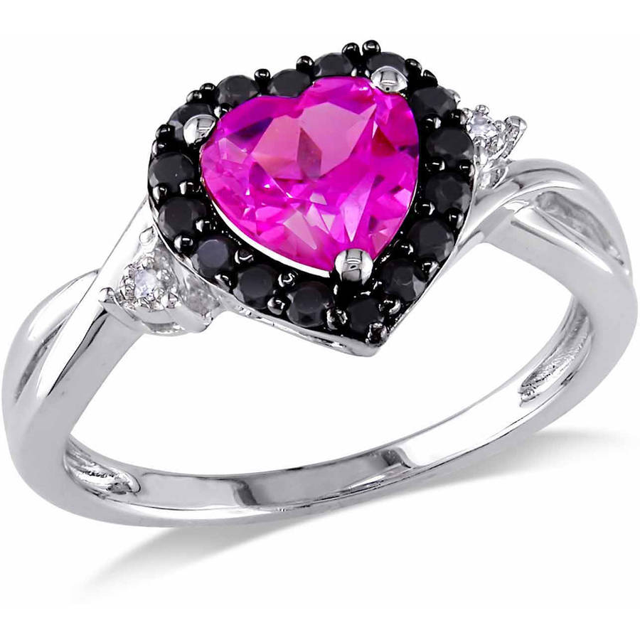 Tangelo 1-7/8 Carat T.G.W. Created Pink Sapphire, Black Spinel and Diamond-Accent Sterling Silver Heart Ring