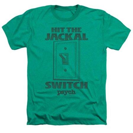 Trevco Psych-Jackal Switch Adult Heather Tee, Kelly Green - Medium ()