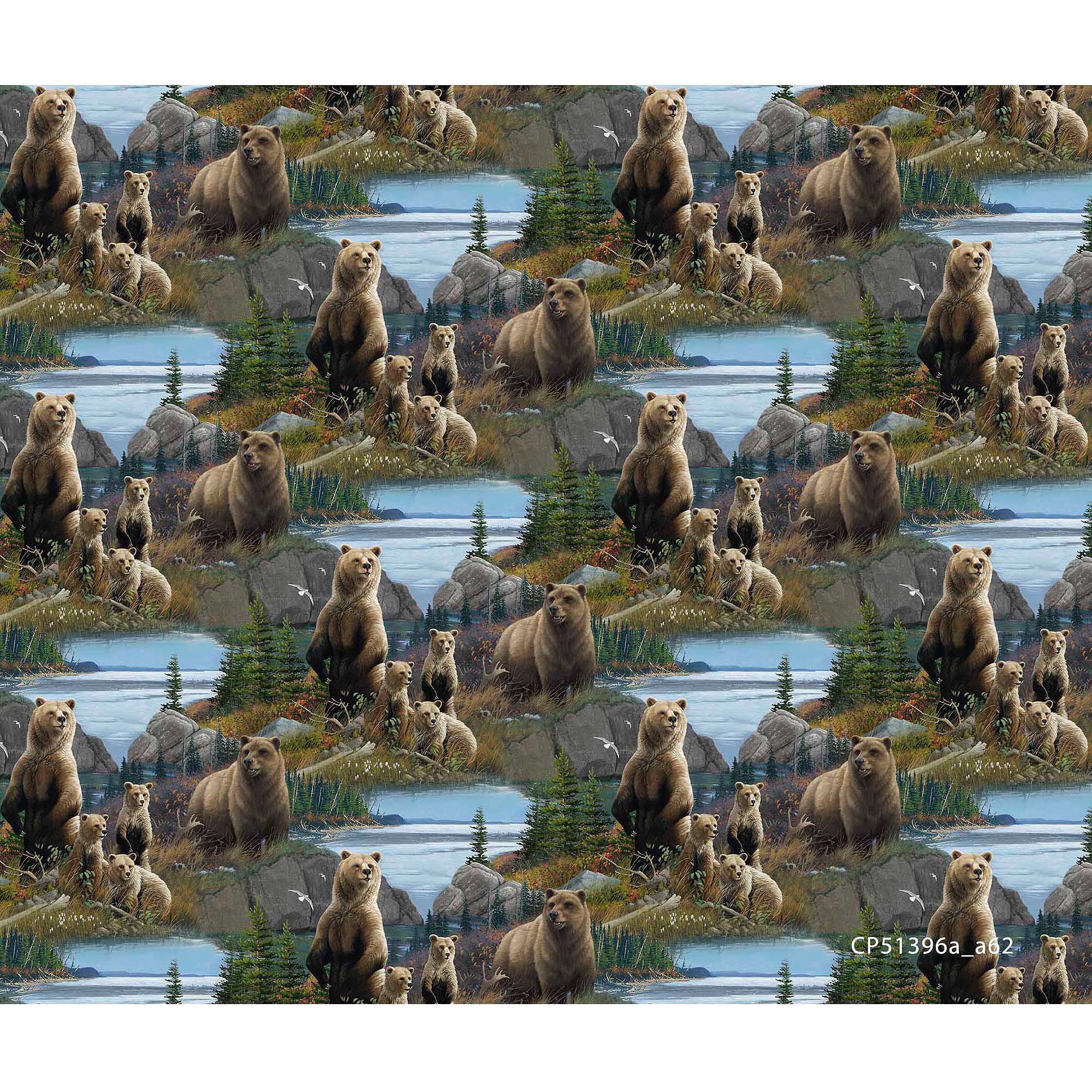 Springs Creative Wild Wings Scenics Fabric, Granger Lake, Multicolor