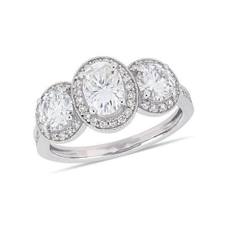 2 Carat T.G.W. Moissanite and 1/3 Carat T.W. Diamond 14kt White Gold Three-Stone Engagement (Moissanite 2 Stone)