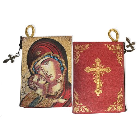 Icon Pouch Reversible - Virgin Of Vladimir Sweet Kissing & On The Back Side Three Bar Cross - Tapestry Rosary Icon Pouch 5 3/8 x 4 Inches By World (Three Crosses On The Side Of The Road)