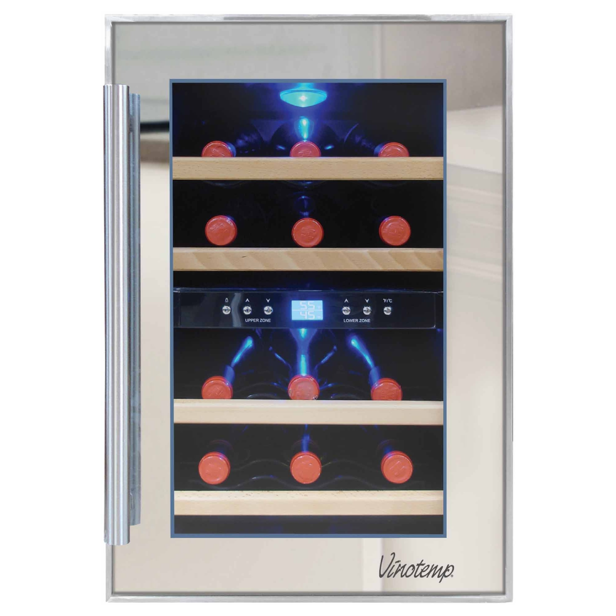 Vinotemp International VT-12TSP-2Z-3A 12bottle Dual-zone Appl Thermoelectric Mirrored Wine Cooler