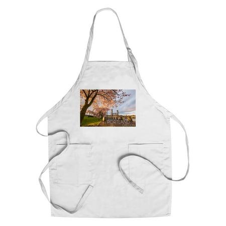 Portland  Oregon   Cherry Blossoms   Waterfront   Lantern Press Photography  Cotton Polyester Chefs Apron