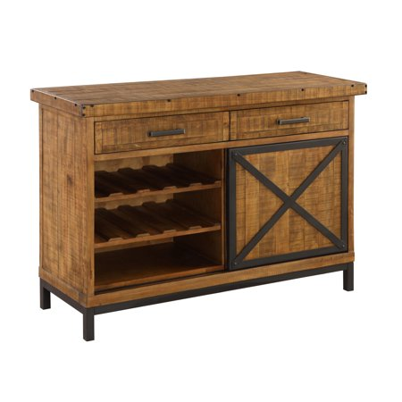 Emerald Home Chandler Rustic Brown and Antique Black Metal Buffet with Five Drawers, Wine Storage, And Metal Base ()
