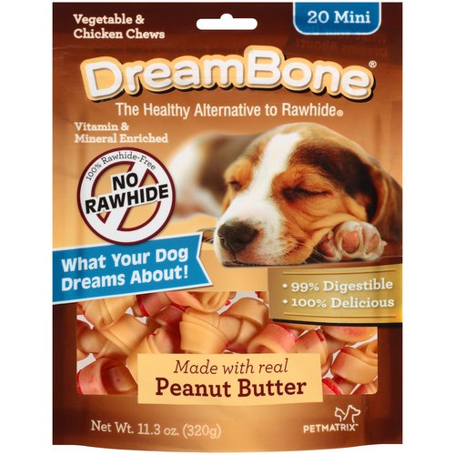 DreamBone Vegetable and Chicken Peanut Butter Mini Dog Chews, 20-Count, 11.3 oz