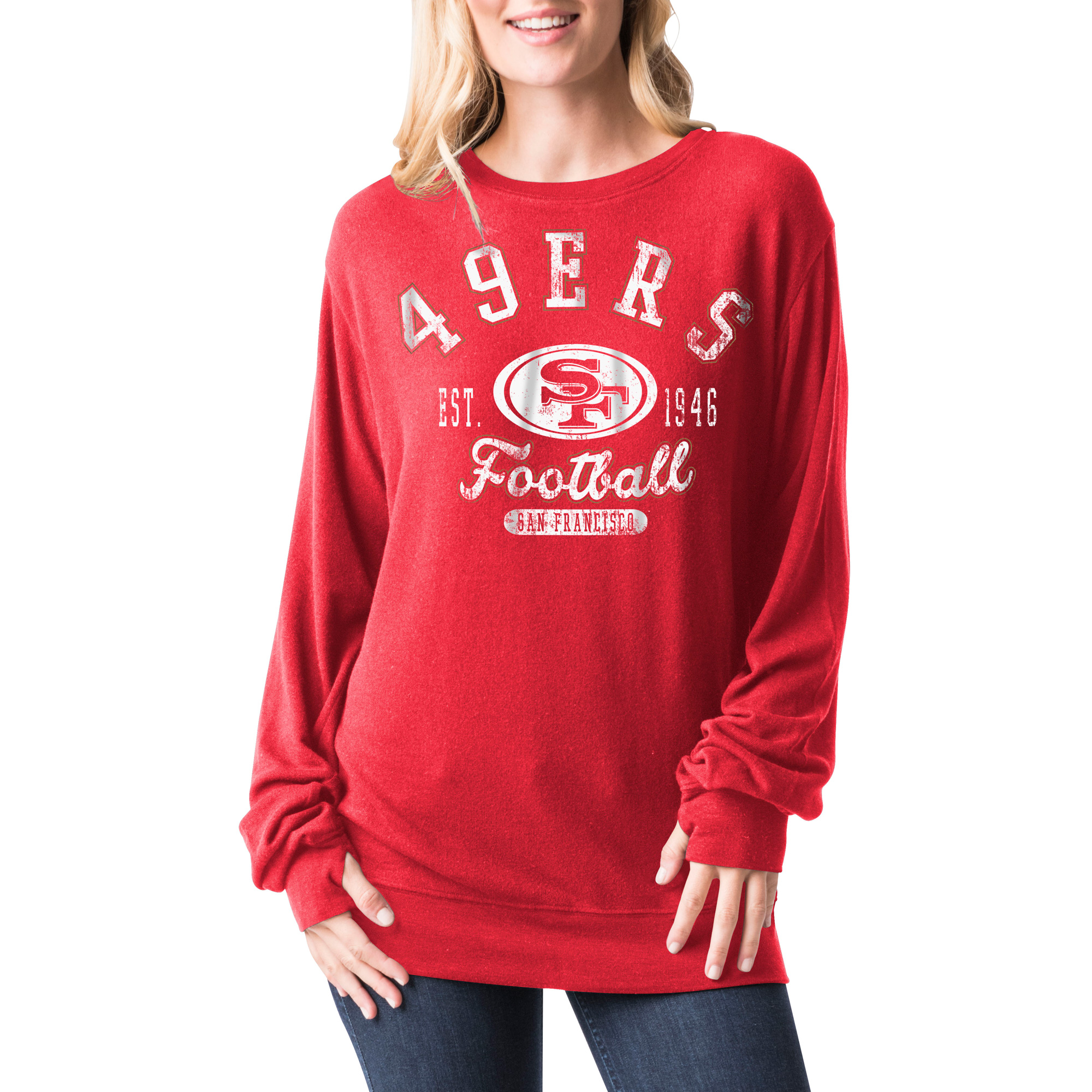 San Francisco 49ers 5th & Ocean by New Era Women's Athletic Tri-Blend Pullover Sweatshirt - Scarlet