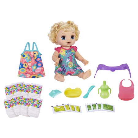 Baby Alive Happy Hungry Baby Blonde Doll, Walmart Exclusive Bonus Pack