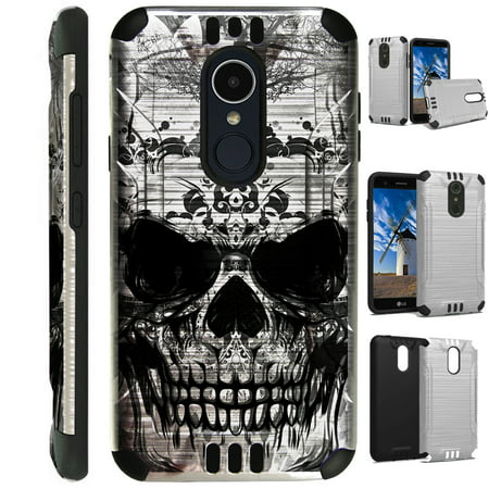 For LG Rebel 3 | LG Rebel 4 Case Brushed Metal Texture Hybrid TPU Silver Guard Phone Cover (Gray Evil Skull) Gray Skull Protector Faceplate