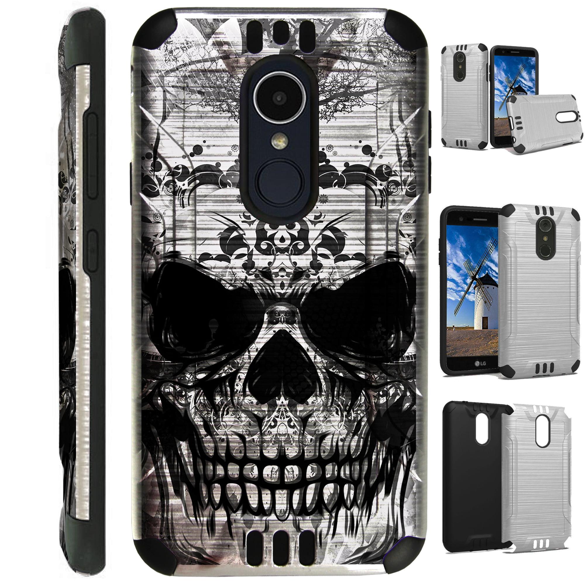 For LG Rebel 3 | LG Rebel 4 Case Brushed Metal Texture Hybrid TPU Silver Guard Phone Cover (Gray Evil Skull)
