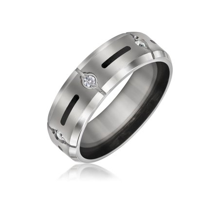 - Mens Wedding Band Ring For Women Titanium 7mm Cubic Zirconia Accent Black Inlay