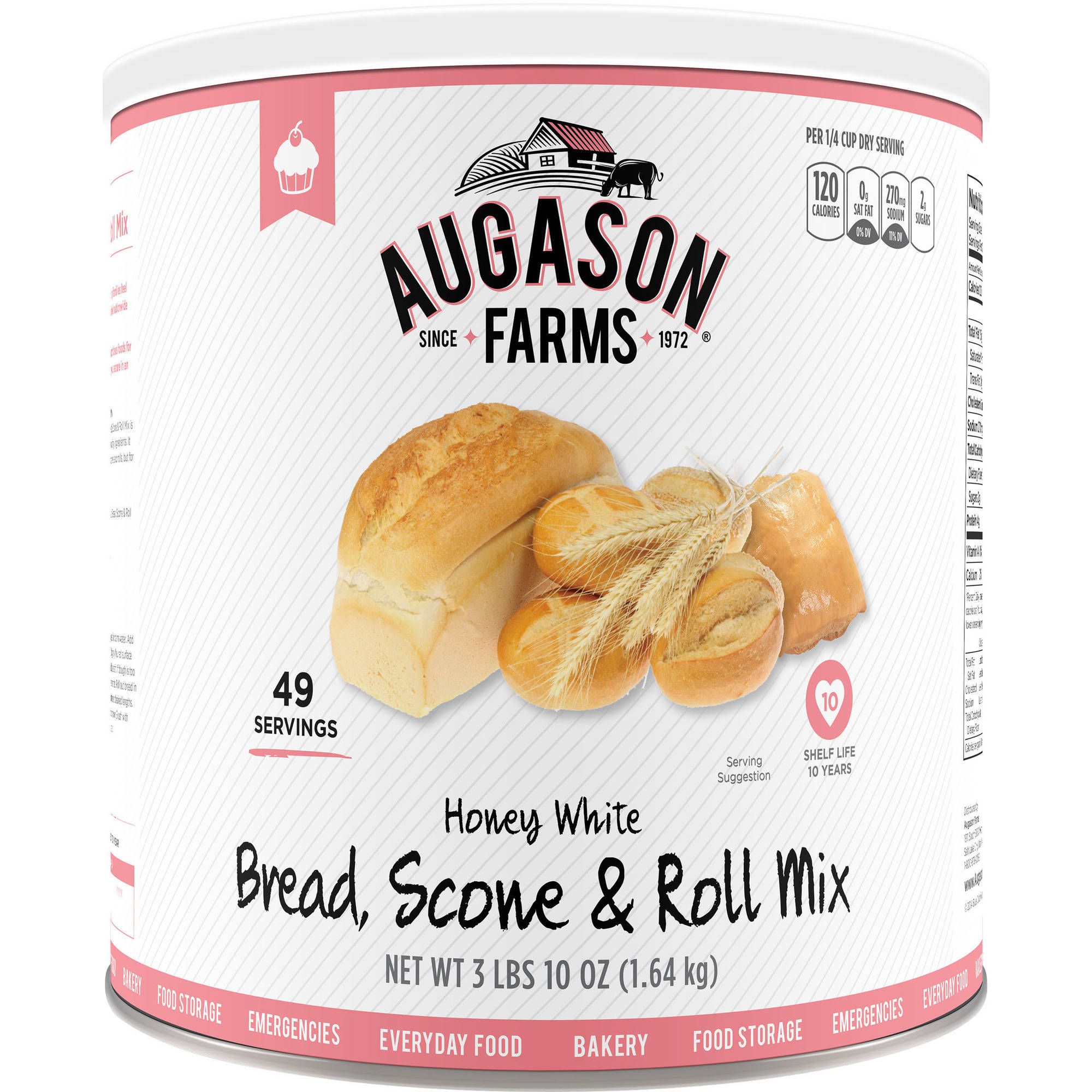 Augason Farms Emergency Food Honey White Bread & Roll Mix, 58 oz