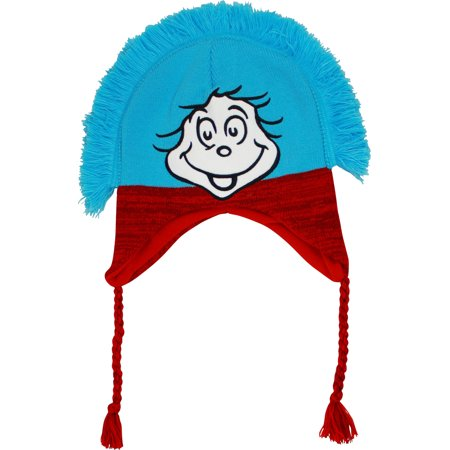Dr. Seuss The Cat in the Hat Thing One and Thing Two Knit Laplander Peruvian Hat (Thing 1 And Thing 2 Baby Hats)